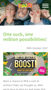 Boost Juice – Win One Million Dollars (prize valued at $1,000)