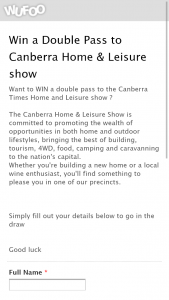 Canberra Times – Win a Double Pass to Canberra Home & Leisure Show (prize valued at $150)