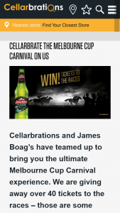 Cellarbrations – James Boags – Win Tickets to The Melbourne Cup Carnival No Travel note Some Draws Are Before