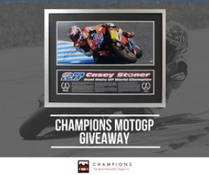 Champions The Sports Memorabilia Display Co FB – Win this Sensational Casey Stoner Dual Moto Gp Champion Signed Memorabilia Piece Valued at $695.00. (prize valued at $695)