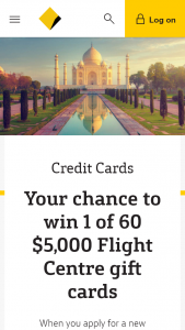 Commonwealth Bank of Australia -Apply for a new Commbank Credit Card & – Win 1 of 61 Flight Centre Cards (prize valued at $5,000)