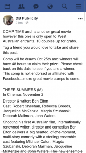 DB Publicity – Win 1/10 Double Passes to Three Summers