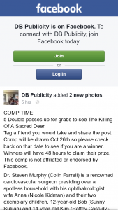 DB Publicity – Win One of Five Double Passes to The Killing of a Sacred Deer