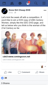 Done Dirt Cheap DVD – Win a DVD Copy of 20th Century Women