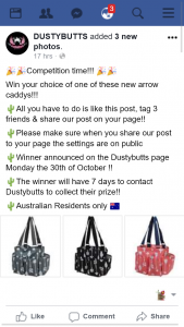 Dustybutts FB – Win Your Choice of One of These New Arrow Caddys