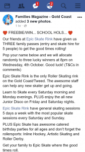 Families magazine Gold Coast – Win One of Three Family Passes to Epic Skate Rink
