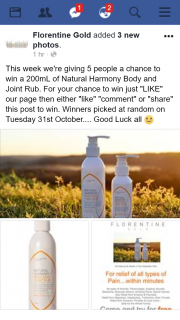 Florentine Gold – Win a 200ml of Natural Harmony Body and Joint Rub