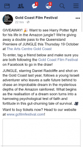 Gold Coast Film Festival – Win Double Pass to See Jungle at Gold Coast Arts Centre