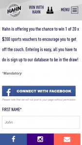 Hahn – Win 1 of 20 X $200 Sports Vouchers to Encourage You to Get Off The Couch (prize valued at $4,000)