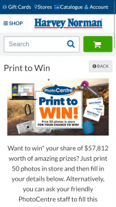 Harvey Norman Photo Centre Print 50 photos in store to Win a Lenovo yoga 520-AK 14 modern PC Laptops valued at $1,498 (prize valued at $57,812)