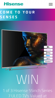 Hisense Australia – Win 1 of 3 Hisense 55inch Series 7 Uled Tv's (prize valued at $7,497)