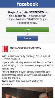 Hoyts cinemas Stafford – Win a Birthday Party Package for 10 Kids at Hoyts Stafford (prize valued at $250)