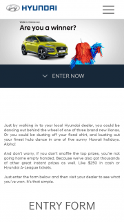 Hyundai – Win 1 of 3 Hyundai Kona Suvs a Hawaiian Trip Or 8184 Other Prizes of Sunglasses Eftpos Cards Or A-League Double Passes (prize valued at $27,000)
