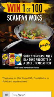 IGA – Supa IGA / Foodworks / Foodland – Win One Scanpan® 32cm Impact Wok Valued at Rrp $15500 Per Unit (prize valued at $155)