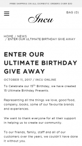 Incu Birthday Giveaway – Win 1 of 15 Ultimate Birthday Presents