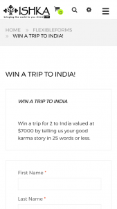 ISHKA – Win a Trip to India