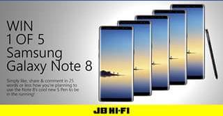 JB HiFi – Win 1 of 5 Samsung Galaxy Note 8 Handsets