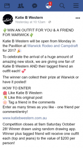 Katie B Western FB – Win an Outfit for You & a Friend for Warwick&#127797