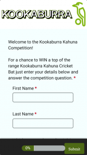 Kookabura Cricket – Win a Top of The Range Kookaburra Kahuna Cricket Bat Just Enter Your Details Below and Answer The Competition Question