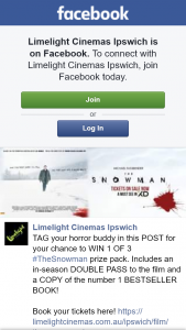 Limelight cinemas Ipswich – Win 1 of 3 #thesnowman Prize Pack