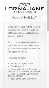 Lorna Jane – Win a Trip for Two (2) People to Bali (prize valued at $9,500)