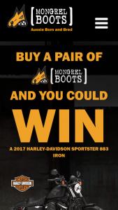 Mongrel Boots – Win a Harley Davidson Sportster (prize valued at $15,495)