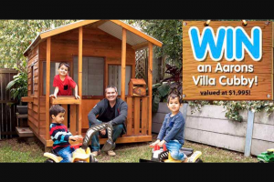Mum Central – Win a Villa Cubby From Aarons Outdoor Living Just In Time for Christmas (prize valued at $1,995)