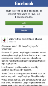 Mum to Five – Win 1 of 2 Leapfrog Toys for Christmas