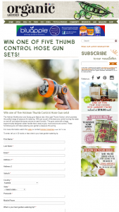 Organic Gardener – Win One of Five Thumb Control Hose Gun Sets (prize valued at $35.6)