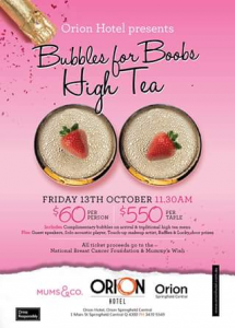 Orion Springfield Central – Win One of Two Double Passes to Bubbles for Boobs High Tea Event on Friday October 13th