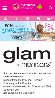 Priceline-Glam by Manicare – Win The Ultimate Glamping Experience at Coachella for Two (prize valued at $19,800)