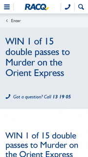 RACQ – Win 1 of 15 Double Passes to Murder on The Orient Express