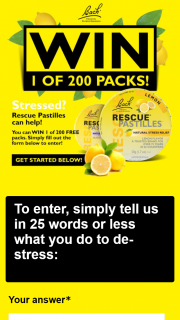 Rescue Remedy – Win 1 of 200 Rescue Lemon  Pastilles  Twin  Packs (prize valued at $6,280)
