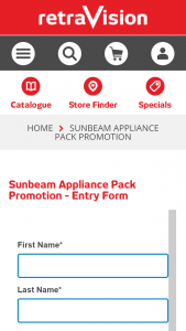 Retravision – Win a $3000 Sunbeam Appliance Pack (prize valued at $3,000)
