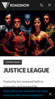 Roadshow – Win 1/199 Double Passes to The Premiere of Justice League on Nov 15th (prize valued at $100)