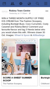 Robina Town Centre – Win a Three Month Supply of Free Ice-Cream From The Fashion Scoopery