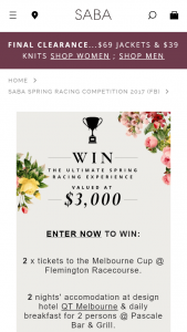Saba – Win The Ultimate Spring Racing Experience Incl Accom But Not Flights (prize valued at $3,000)