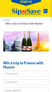 Sip'n'Save-Bottlemart/Mumm Champagne – 'win a Trip to France' Competition (prize valued at $18,000)