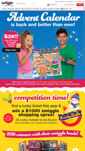 Smiggle – Win a Smiggle gift card valued at AUD $1,000 (prize valued at $1,000)