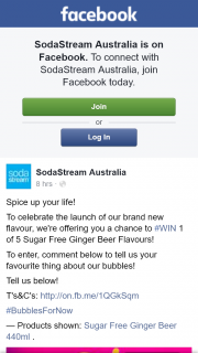 SodaStream Australia – Win 1 of 5 Sugar Free Ginger Beer Flavours