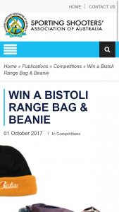 SSAA – Win Bistoli Range Bag & Beanie (prize valued at $75)