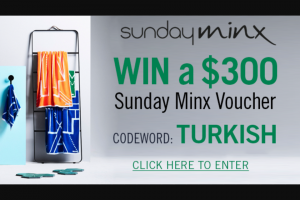 Channel 7 – Sunrise – Win a $300 Gift Voucher to Spend Online at Sunday Minx