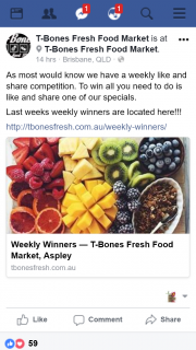 T-Bones Fresh Food Market Aspley – Win All You Need to Do Is Like and Share One of Our Specials