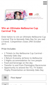 TCL – Win a Trip to Melbourne to The Melbourne Cup Carnival (prize valued at $4,600)
