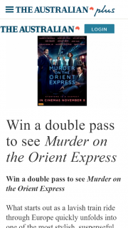 The Australian Plus – Win a Double Pass to See Murder on The Orient Express (prize valued at $4,800)