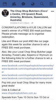 The Chop Shop Butchers – Win a Free $50 Meat Purchase