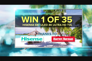 Channel 9 – Today show – Win a Chance to Win a 65″ Hisense Tv From Harvey Norman