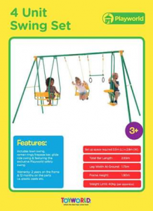 Toyworld Canberra – Win a Play World 4 Unit Swing Set