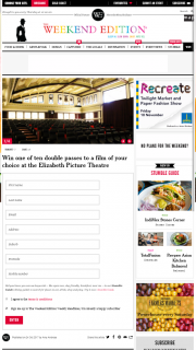 Weekend edition – Win One of Ten Double Passes to a Film of Your Choice at The Elizabeth Picture Theatre