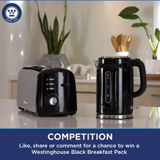 Westinghouse small appliances – Win a Pearl Black Breakfast Pack